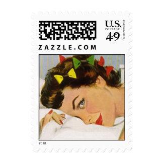 Stylish Retro Lady Hair Set Pillow Postage Stamps