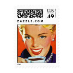 Stylish Retro Lady pearls Postage Stamps