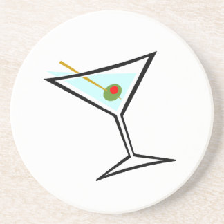 Stylish Retro Martini and Green Olive with Pimento Drink Coaster