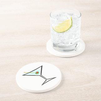 Stylish Retro Martini and Green Olive with Pimento Drink Coaster