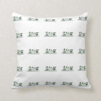 Stylish Retro Olive Green and White Vintage Train Throw Pillow