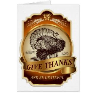 Stylish retro turkey Thanksgiving message… Card