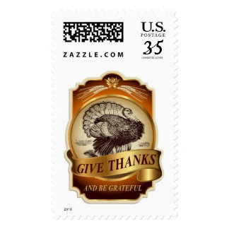 Stylish retro turkey Thanksgiving message Postage