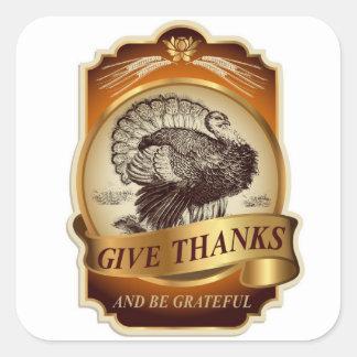 Stylish retro turkey Thanksgiving message… Square Sticker