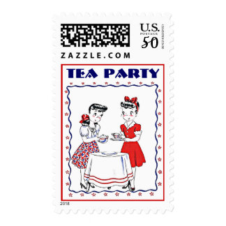 Stylish Retro Vintage Girls Tea Party Host Stamps