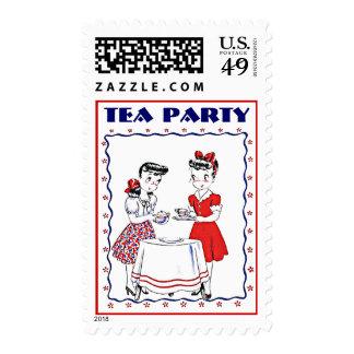 Stylish Retro Vintage Girls Tea Party Host Stamps