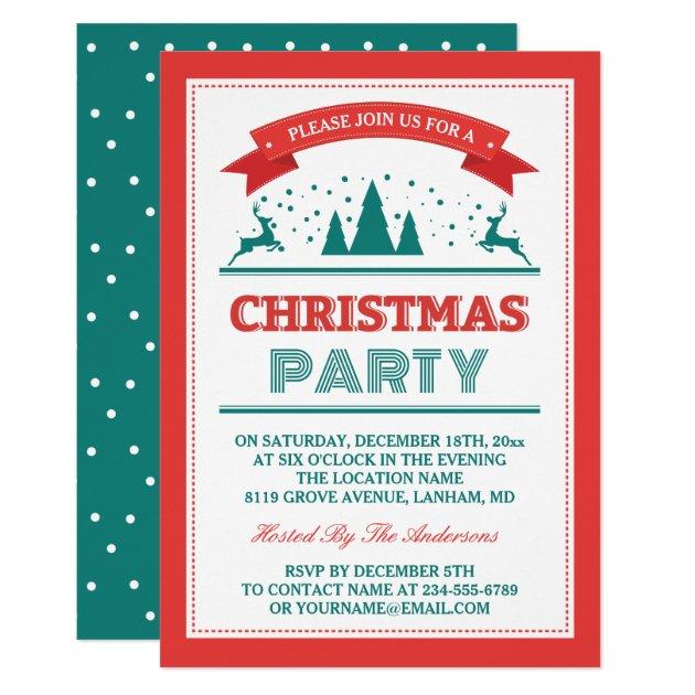 Stylish Retro Vintage Typography Christmas Party Card