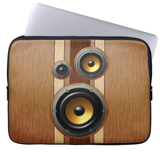 Stylish retro wood grain speakers computer sleeve