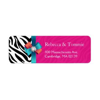 Stylish Ribbon Bow Hot Pink Zebra Print Label