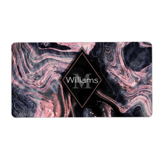 Stylish rose gold abstract marbleized design label