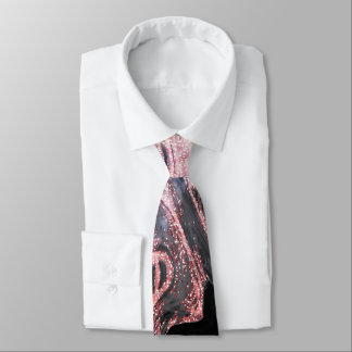 Stylish rose gold abstract marbleized design tie