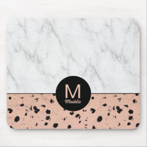 Stylish Rose Gold and Marble Pattern with Monogram Mouse Pad