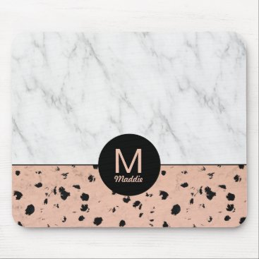 Professional Business Stylish Rose Gold and Marble Pattern with Monogram Mouse Pad