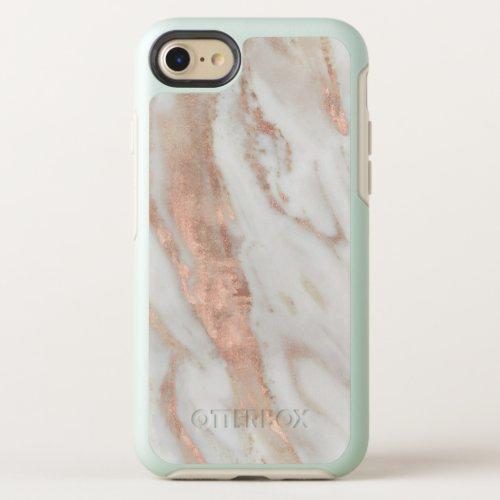 Stylish Rose Gold Elegant White Marble Phone Case