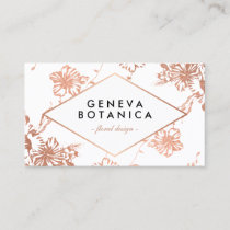 Stylish Rose Gold Floral Pattern Florist Business Card