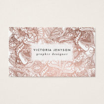 Stylish rose gold foil hand drawn floral pattern business card