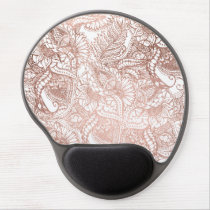 Stylish rose gold foil hand drawn floral pattern gel mouse pad