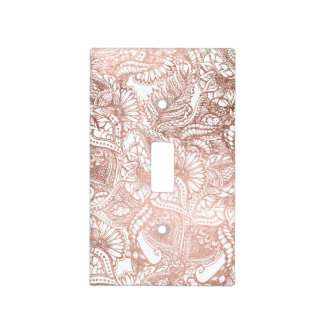 Stylish rose gold foil hand drawn floral pattern light switch cover