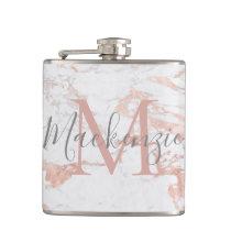 Stylish Rose Gold Foil Marble Monogram Flask