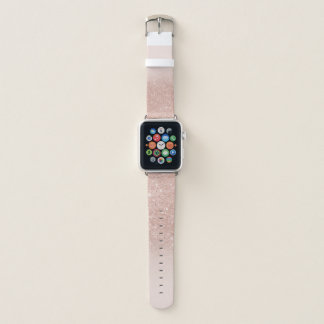 Stylish rose gold glitter ombre pink color block apple watch band