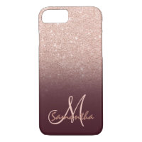 Stylish rose gold ombre burugndy block monogram iPhone 8/7 case