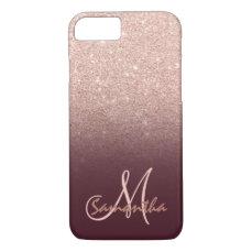 Stylish rose gold ombre burugndy block monogram iPhone 8/7 case