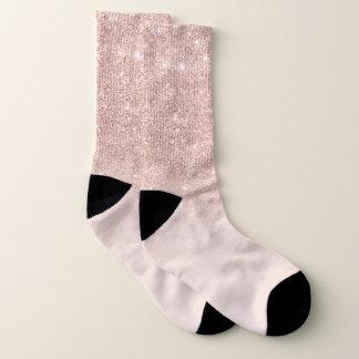 Stylish rose gold ombre pink block modern socks