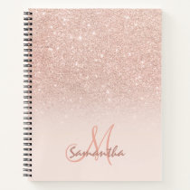 Stylish rose gold ombre pink block monogram notebook