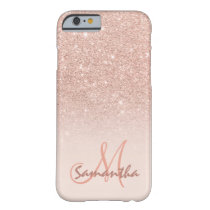 Stylish rose gold ombre pink block personalized barely there iPhone 6 case