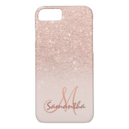 Stylish rose gold ombre pink block personalized iPhone 8/7 case