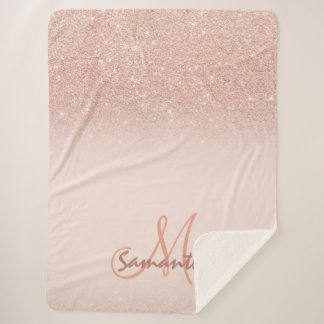 Stylish rose gold ombre pink block personalized sherpa blanket