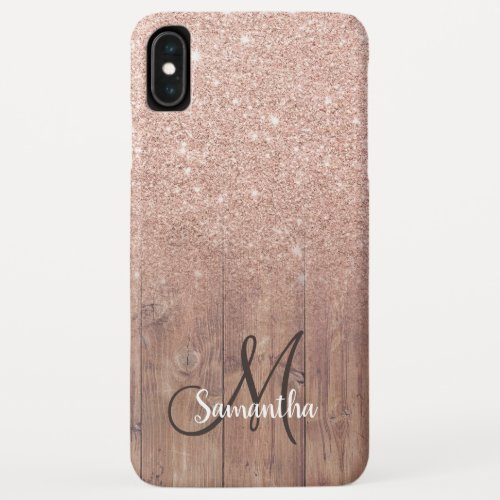 Stylish rose gold ombre wood block add your name Phone Case