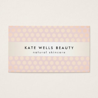 Stylish Rose Gold on Pink Polka Dot Pattern Beauty Business Card