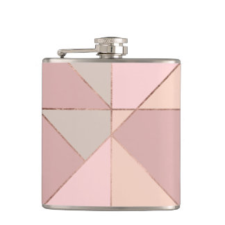 Stylish rose gold peach tan blush color block hip flask