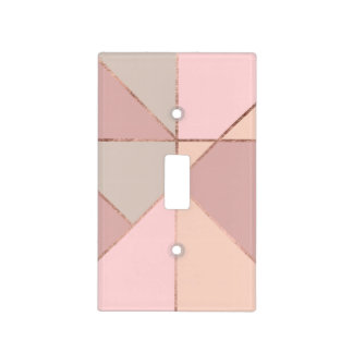 Stylish rose gold peach tan blush color block light switch cover