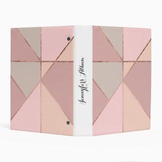Stylish rose gold peach tan blush color block mini binder