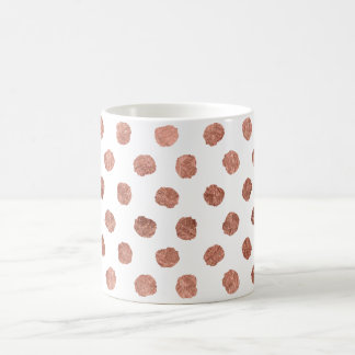 Stylish rose gold polka dots brushstrokes pattern coffee mug
