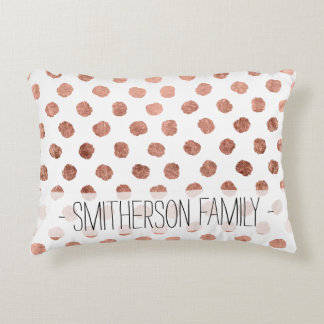 Stylish rose gold polka dots brushstrokes pattern decorative pillow