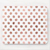 Stylish rose gold polka dots brushstrokes pattern mouse pad