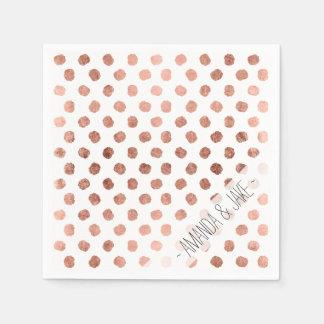 Stylish rose gold polka dots brushstrokes pattern paper napkin