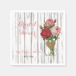 Stylish Rose Mason Jar Bridal Shower Paper Napkin