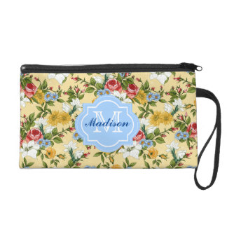Stylish Roses Pastel Flowers Name and Initial Wristlet Purse