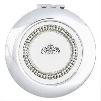 """Stylish "" Round* Silver Ornate Compact Mirror"