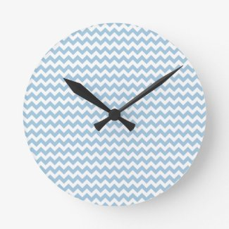 Stylish Round Wall Clock, Blue and White Chevrons