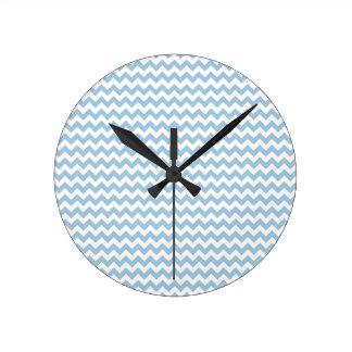 Stylish Round Wall Clock, Blue and White Chevrons Round Clock