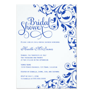 Stylish Royal Blue Swirls Bridal Shower Card
