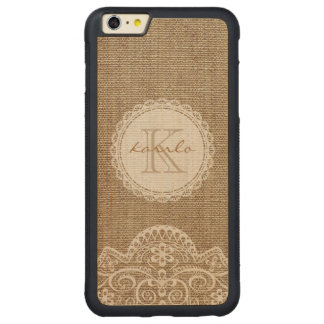 Stylish Rustic Burlap Ivory Lace Pattern Monogram Carved® Maple iPhone 6 Plus Bumper Case