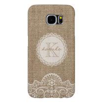 Stylish Rustic Burlap Ivory Lace Pattern Monogram Samsung Galaxy S6 Case