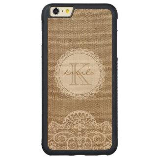 Stylish Rustic Burlap Ivory Lace Pattern Monogram Carved® Maple iPhone 6 Plus Bumper