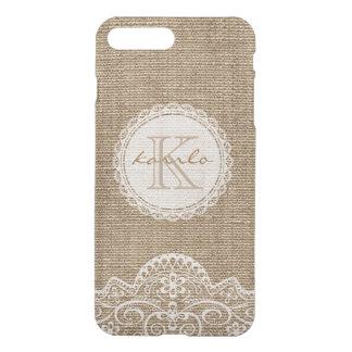 Stylish Rustic Country Burlap Ivory Lace Monogram iPhone 7 Plus Case
